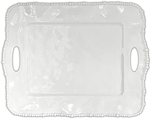 BACI MILANO - Plateau rectangulaire avec poignées en acrylique - 50 x 40 cm blanc - TRAY.COL01