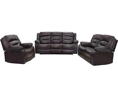 Juego de sillas reclinables manuales de cuero de PU sofá y sofá de teatro movimiento para el hogar sala de estar (seccional, marrón)