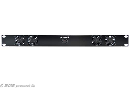 PROCOOL SX2240E / 1U Silent Rack Mount Fan/Airflow = EXHAUST/Home Theater AV Cabinet Cooling Broadcast Network Server Recording Studio Rack Mount Fan Panel 19'