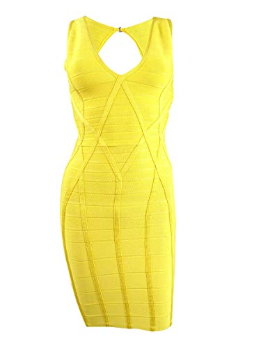 GUESS Womens Open Back V-Neck Bodycon Dress Yellow XL