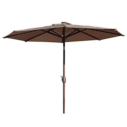 Sombrillas para Patio Los 9ft / Los 2.7m Paraguas de Mesa de Mercado Al Aire Libre con 40 Luces LED, Inclinación del Botón Pulsador y Manivela, Patio (Color : Brown, Size : 2.7m/9ft)