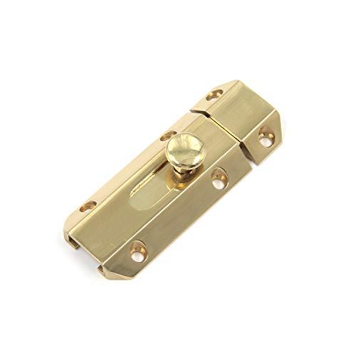 Tuerca de seguridad para puerta de Karcy, perno de seguridad de cobre, perno de barril de 6,35 cm con interruptor, tono dorado con tornillos, paquete de 1
