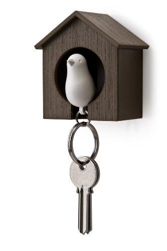 Qualy QL10091BR-W Schlüsselhalter anhänger und Trillerpfeife Sparrow Key Ring, braun / weiß