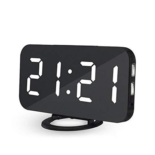 FPRW Creative wekker, mobiele telefoon laden afbeelding elektronische klok, LED-display snooze digitaal backlight mute Mirror enkele horloges wit