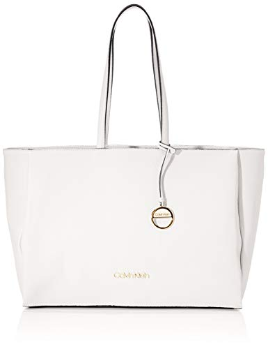 Calvin Klein Damen Sided Shopper W/Laptop Sleeve Taschenorganizer Weiß (White)