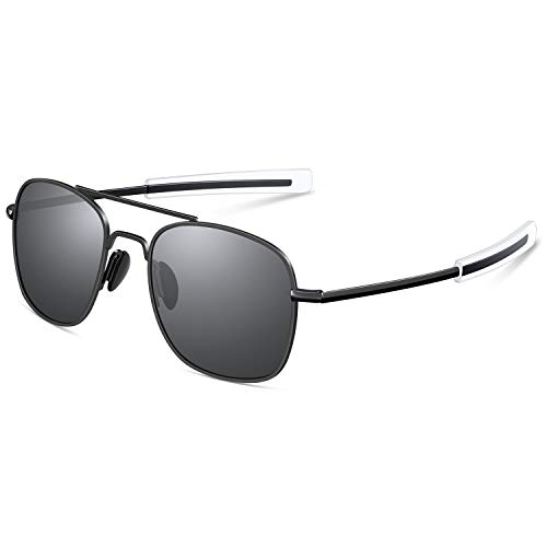 Polarized Aviator Sunglasses for Mens Retro Military Pilot Navigator Army Sun Glasses Black