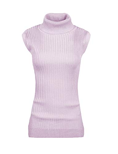 v28 Women Sleeveless High Neck Turtleneck Stretchable Knit Sweater Top-M,Lilac