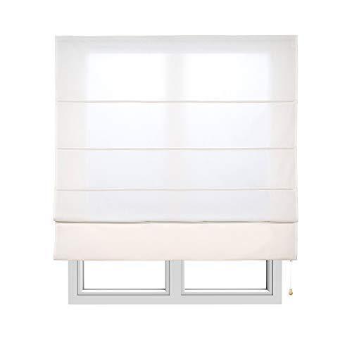 STORESDECO Estor Plegable con Varillas, Estor translúcido para Ventanas y Puertas (90 cm x 175 cm, Crudo)