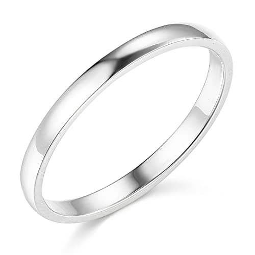 14k White Gold 2mm SOLID COMFORT FIT Plain Wedding Band - Size 6.5