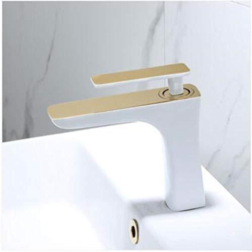 latón Sólido blanco y oro baño de latón grifo de lavabo de mezclador del fregadero del fregadero cuarto caliente y fría del grifo del fregadero cuarto de mezclador del lavabo del grifo, oro blanco