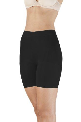 SLEEX Shapewear Damen Miederhose mit Bein - Miederpants mit Bauch-Weg Effekt, Größe L, Schwarz
