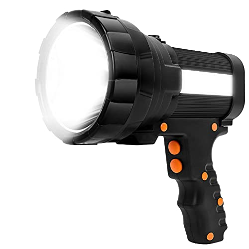 Linterna LED Recargable 15000 Lúmenes, Linternas LED Alta Potencia 3 en 1 10000mAh, IPX4 Impermeable Foco Super Brillante Reflector Portátil, Linterna Gran Alcance con 6 modos de iluminación (Negro)