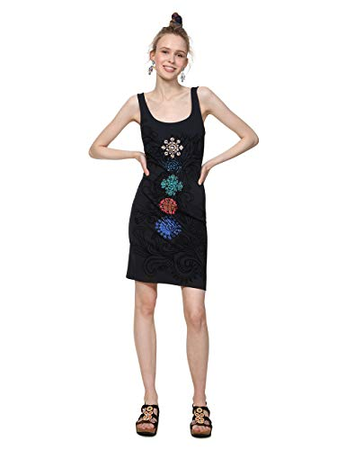 Desigual Damen Dress Straps Coque Woman Black Kleid, Schwarz (Negro 2000), Large