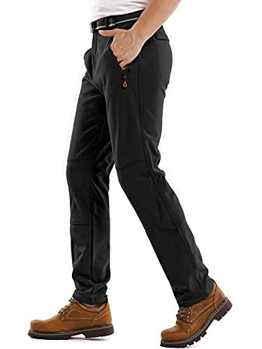Jessie Kidden Mens Waterproof Hiking Pants Outdoor Snow Ski Fishing Fleece Lined Insulated Soft Shell Winter Pants (801M Black 32)