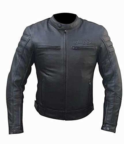 BI ESSE - Chaqueta de piel para moto vintage café race, con protecciones desmontables (negro, xx_l)