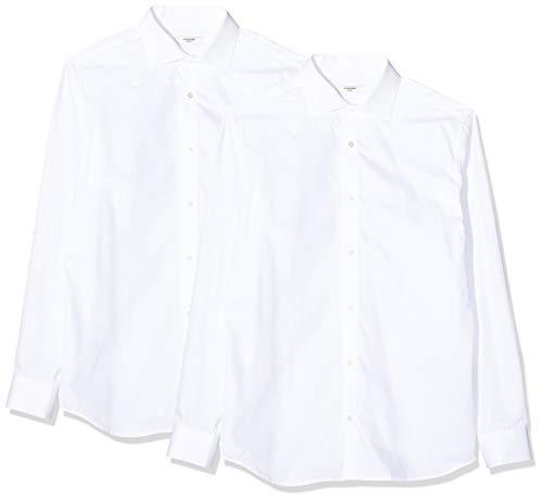 JACK & JONES Herren JPRBLA Basic LS Shirt 2 Pack KA Businesshemd, Weiß (White Fit: Slim-White White), X-Large (Herstellergröße: XL) (2er Pack)