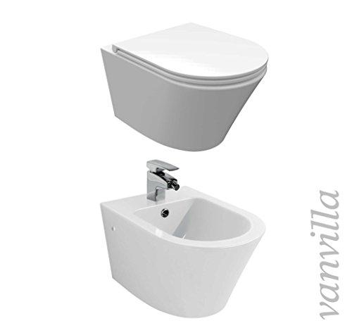 vanvilla Design Hänge WC Toilette Spülrandlos rimless + Hänge Bidet SET Luanda, inklusive Soft-Close
