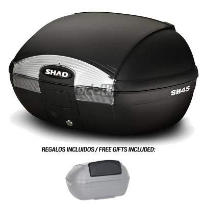 SHAD - D0B45100-KIT1/214 : Baul trasero o maleta para scooter moto SH45 SH 45 + RESPALDO REGALO