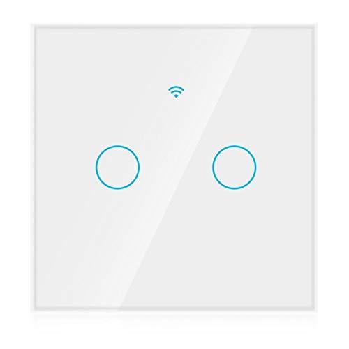 FOLOSAFENAR Interruptor WiFi Interruptor Inteligente inalámbrico Impermeable de 2 vías Interruptor WiFi de Alta sensibilidad, para Alexa Google(White, European regulations)
