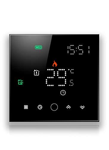 BecaSmart Serise 003 WIFI Termostato Compatibile con Riscaldamento caldaia Controllo della programmazione cellulare Lavora con Alexa, Google Home (Riscaldamento caldaia, Nero (WIFI))