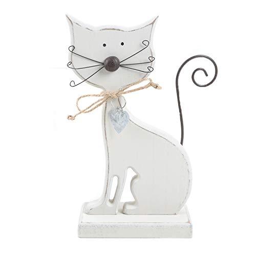 Logbuch-Verlag Gato de madera en color blanco, 18 cm, figura de gato para colocar de pie, decoración para gatos como regalo para los amantes de los gatos y los amantes de los gatos