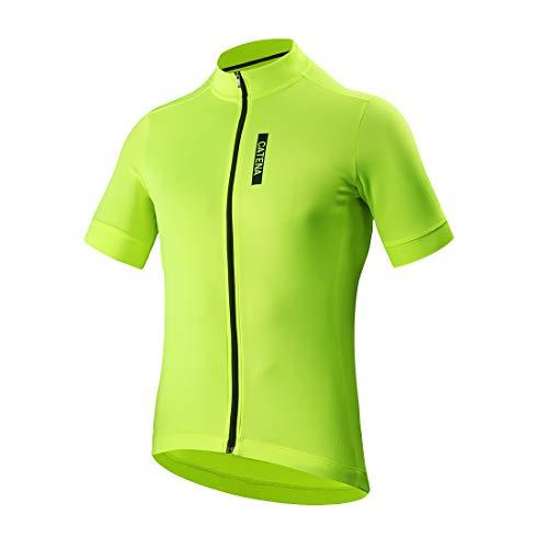 CATENA Men's Cycling Jersey Short Sleeve Shirt Running Top Moisture Wicking Workout Sports T-Shirt Green