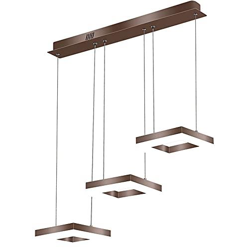 48W Regulable Mesa De Comedor Lámpara Metal Luces colgantes,con control remoto Moderno LED Colgante de luz,Altura Ajustable marrón lámpara de comedor Square Lámpara colgante (L72CM)