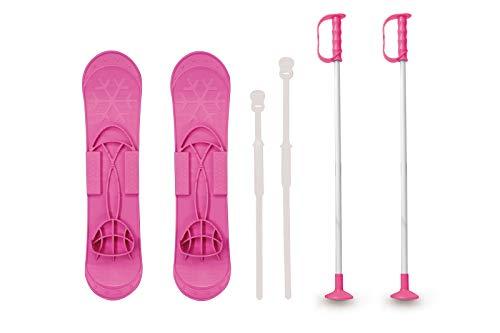 Jamara 460384 - Snow Play Funny Carve 1st step 42cm pink - aerodynamische Bauweise, Skistöcke 60 cm, sichere / verstellbare Befestigungsschlaufen Größen (23 - 28), Skistöcke 60 cm, Anti Rutsch Rillen
