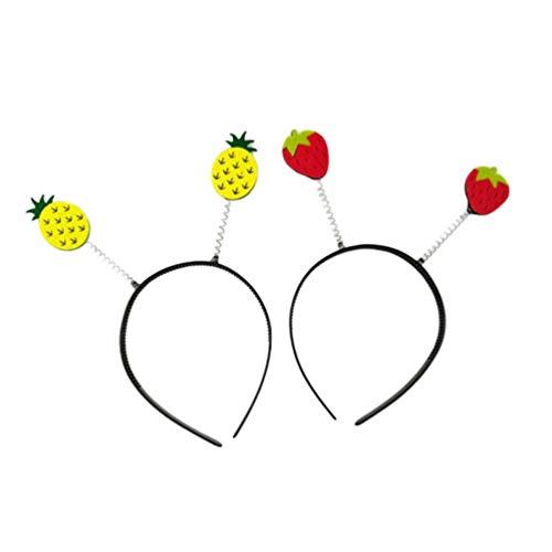 Lurrose 2pcs diademas lindos aros de pelo de dibujos animados diadema de fresa pia tocado fiesta cosplay disfraz accesorio