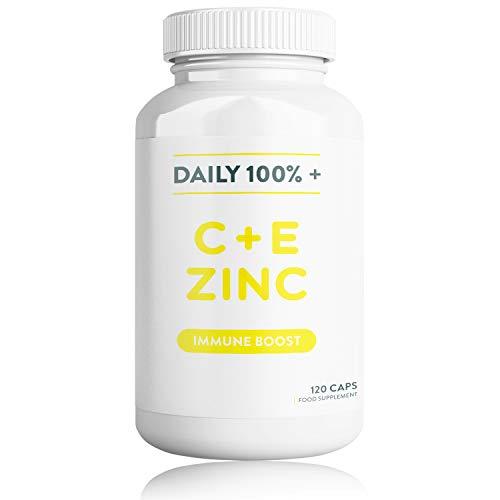 Daily Vitamin C, Vitamin E & Zinc - 120 Capsules | Supplement Aids Immune, Bone, Teeth and Skin Health | Vegan Friendly