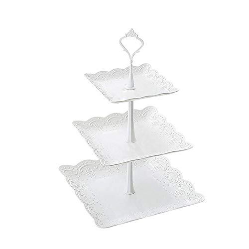 QFWM Soporte para tartas con tapa de 3 niveles cuadrados/redondos, para bodas, fiestas, cupcakes, decoración (tamaño pequeño; color: cuadrado)