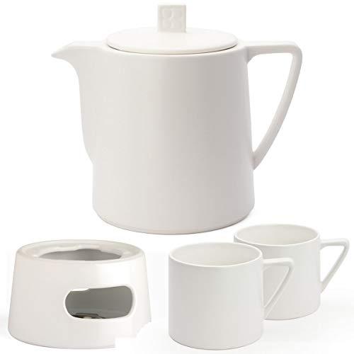 Bredemeijer Keramik Teekanne Set weiß 1,0 Liter mit Tee-Filter-Sieb Edelstahl mit Stövchen und Teebecher (2 Tassen) Weiss