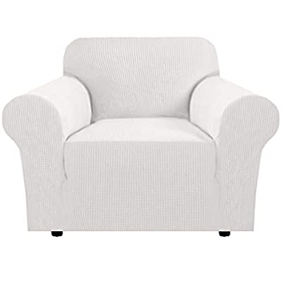 """Durable Soft High Stretch Sofa Slipcover 1 Piece Off White Couch Covers Furniture Protector Couch Cover Machine Washable Spandex Sofa Covers, Form Fitted Armchair Sofa Chair Cover(32""""-48"""")"""