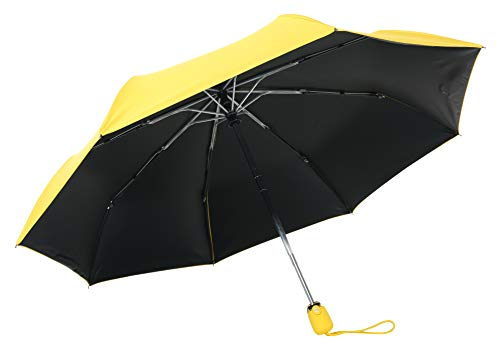 JOURNOW Light Weight Aluminium 8 Ribs Colorful Windproof Automatic Sun/Rain Travel Umbrella with 210T Heavy Coating (Yellow)