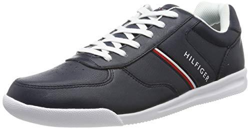 Tommy Hilfiger Lightweight Leather Sneaker, Zapatillas para Hombre, Azul (Midnight Cki), 42 EU