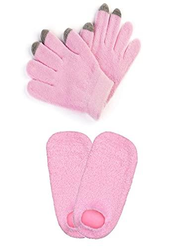 Guantes de trabajo hidratantes para pantalla táctil, cubierta de spa para pies, kit de tratamiento de manos, capa hidratante de silicona incorporada, capa aislante de algodón externa, rosa