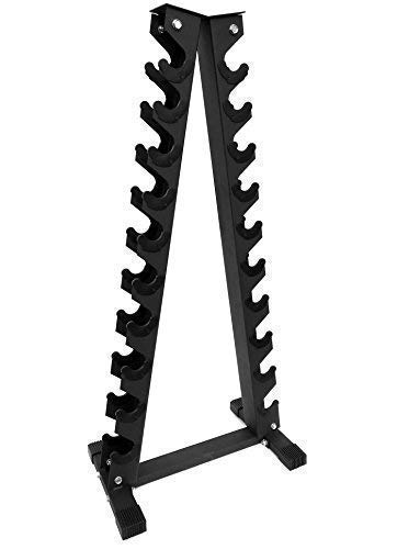 Body Revolution Dumbbell Weight Rack – 6 Tier and 10 Tier Hex Dumbbell Rack Weight Storage Options – Black (6 Tier Rack)