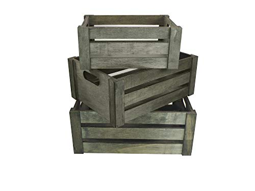 Admired By Nature ABN5E083-SG Set of 3 Rectangle Storage Gift Wood Crates, B. Stain Grey