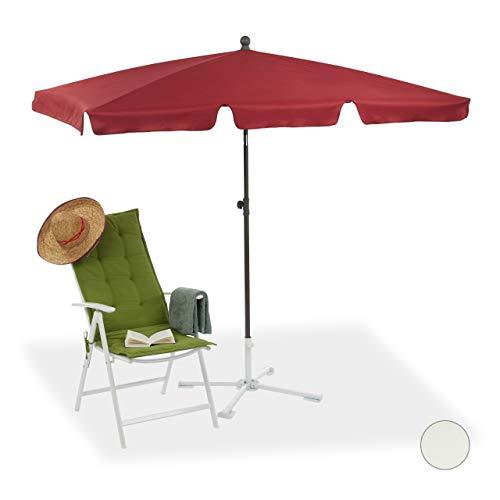 Relaxdays 10023227_93 Ombrellone Spiaggia, Mare, Giardino, Balcone, Rettangolare, 200 x 120 cm, Inclinabile, Bordeaux