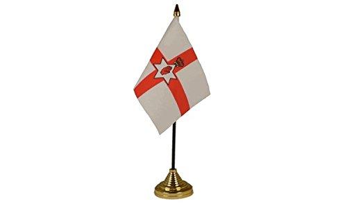 Pack van 3 Noord-Ierland Rode Hand Van Ulster Ierse Desktop Tafel Middenstuk Vlag Vlaggen Met Gouden Bases Ideaal Voor Party Conferences Kantoorscherm