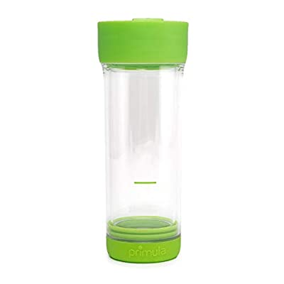 Primula Press & Go Double Wall Loose Leaf Iced Tea Brewer Tumbler With Strainer, 16 oz, Green