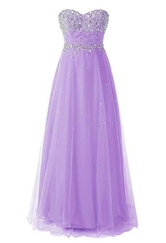 Vantexi Vestido largo de tul brillante para mujer, vestido de noche con perlas, vestido de novia, vestido de fiesta Color lila. 38