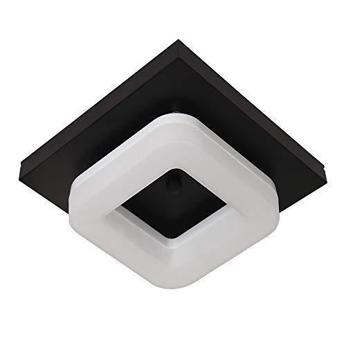 LLY Lámpara de techo LED para cocina de 12 W, luz de techo de metal para interiores para pasillo, pasillo, baño, oficina, 1000 lm, lámpara negra, luz blanca de luz diurna 6000K