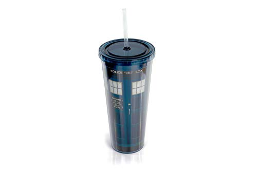 Doctor Who TARDIS 22-Oz Acrylic Travel Tumbler With Lid & Straw - Double-Walled, BPA-Free Spill Proof Cup Features Secure, Twist-On Cap & Matching Straw