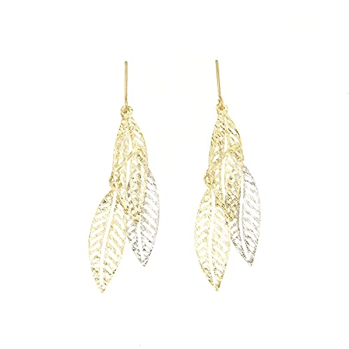 Lucchetta - Joyas Pendientes Mujer 9 quilates (375) Oro Blanco Oro Amarillo - Pendientes Hojas Oro 375