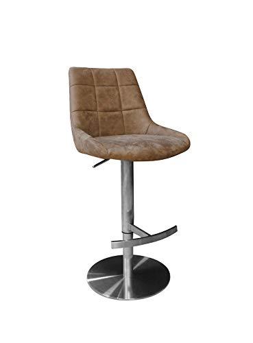 Meubletmoi barkruk, beige, met rugleuning en voetensteun, kunstleer, vintage-look, zeer comfortabel, frame van metaal, verstelbaar, klassiek, chique