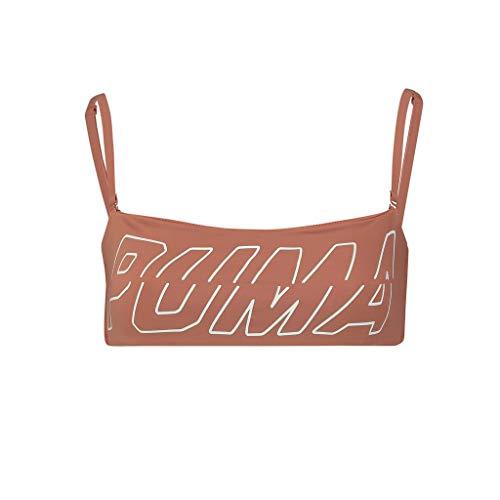 PUMA Womens Swim Women's Bandeau Bikini Top, Brown, XL