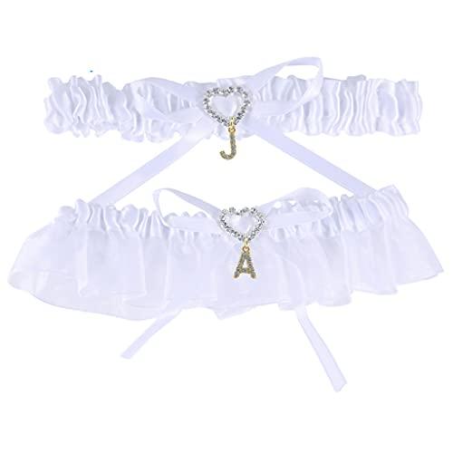Dinikally Ligas personalizadas con letras de encaje, para la novia, alfabeto personalizado, elásticas, para las piernas para las mujeres (sty1)