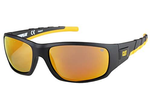 Caterpillar Men's Coffer Polarized Sunglasses Rectangular, Matte Black, 63 mm