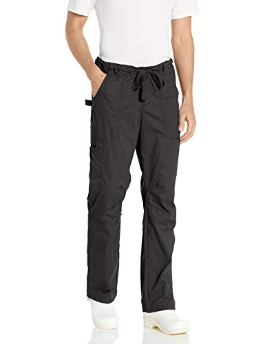 KOI James Elastic Men's Scrub Pants with Zip Fly and Drawstring Waist, Black, Large